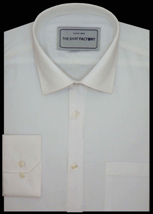 Men's Premium Cotton Plain Shirt - White (0663) - Theshirtfactory