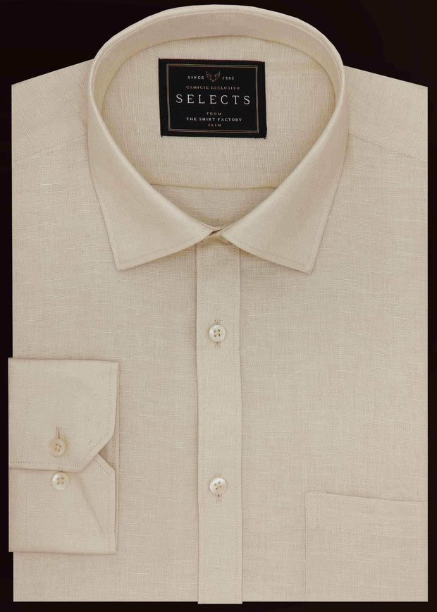 Selects Linen Cotton Blended Plain Shirt - Beige (0295) - Theshirtfactory