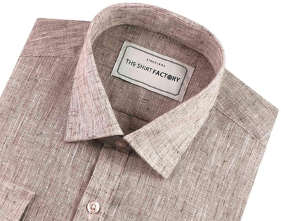 Men's Cotton Blend Plain Shirt - Light Brown (0522) - Theshirtfactory