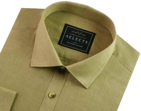 Selects Linen Cotton Blended Plain Shirt - Khaki (0545) - Theshirtfactory