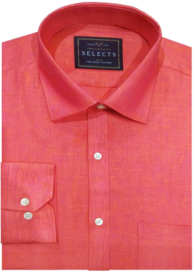 Selects Linen Cotton Blended Plain Shirt - Red (0533) - Theshirtfactory
