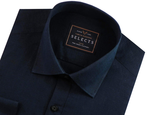 Selects Pure Linen Plain Shirt - Navy (0550) - Theshirtfactory