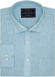 Selects Pure Linen Plain Shirt - Blue (0530) - Theshirtfactory