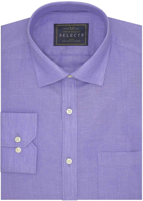 Selects Pure Linen Plain Shirt - Lavender (0532) - Theshirtfactory