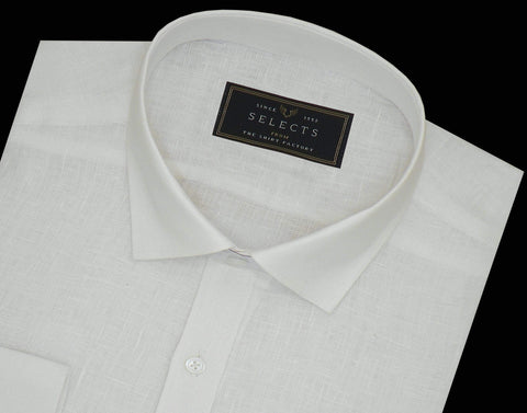 Selects Pure Linen Plain Shirt - White (0528) - TheshirtfactoryPlain Linen