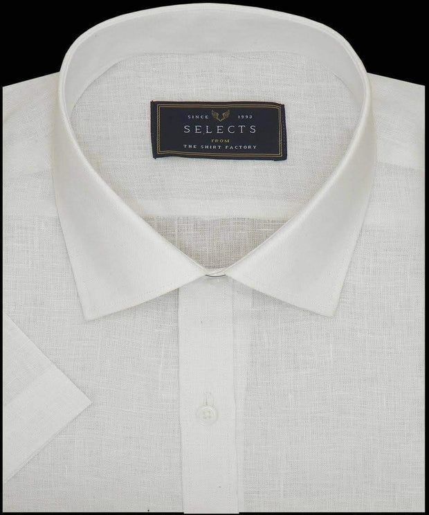 Selects Pure Linen Plain Shirt - White (0528) - Theshirtfactory