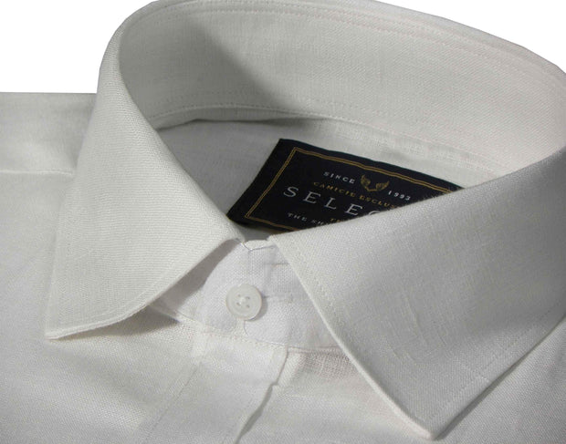 Selects Pure Linen Plain Shirt - White (0541) - Theshirtfactory