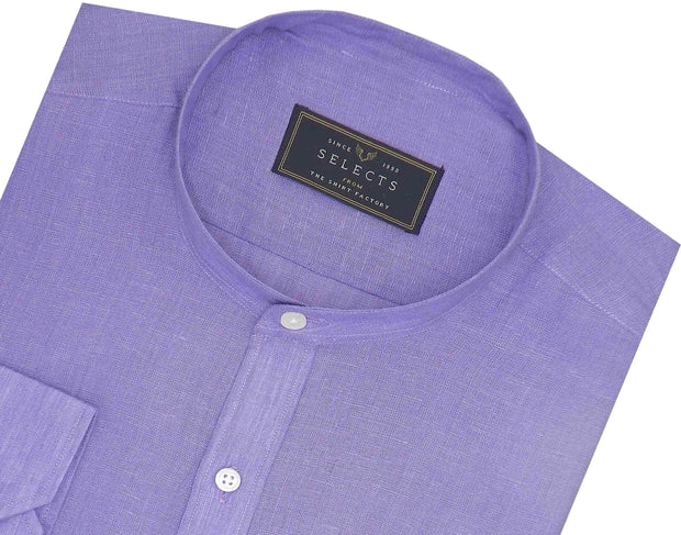 Selects Pure Linen Plain Shirt with Mandarin Collar - Lavender (0532-MAN) - Theshirtfactory