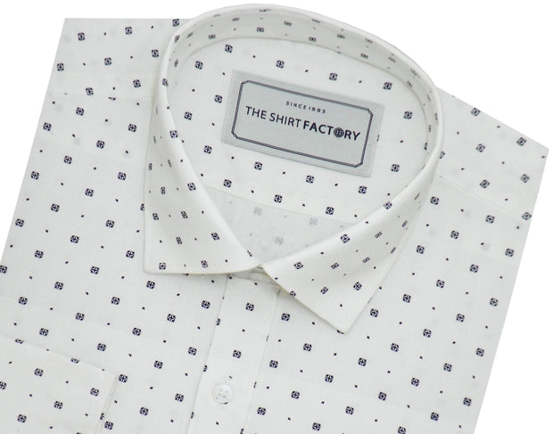 Men's 100% Cotton Printed Shirt - White (0834) - Theshirtfactory