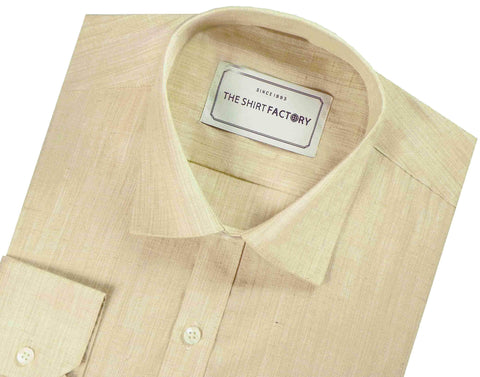 Men's Blended Plain Shirt - Beige (0746) - Theshirtfactory