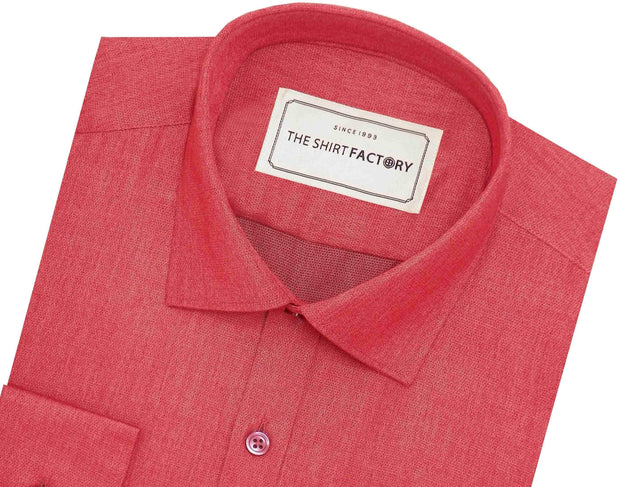 Men's Cotton Blend Plain Shirt - Lava Red (0759) - Theshirtfactory