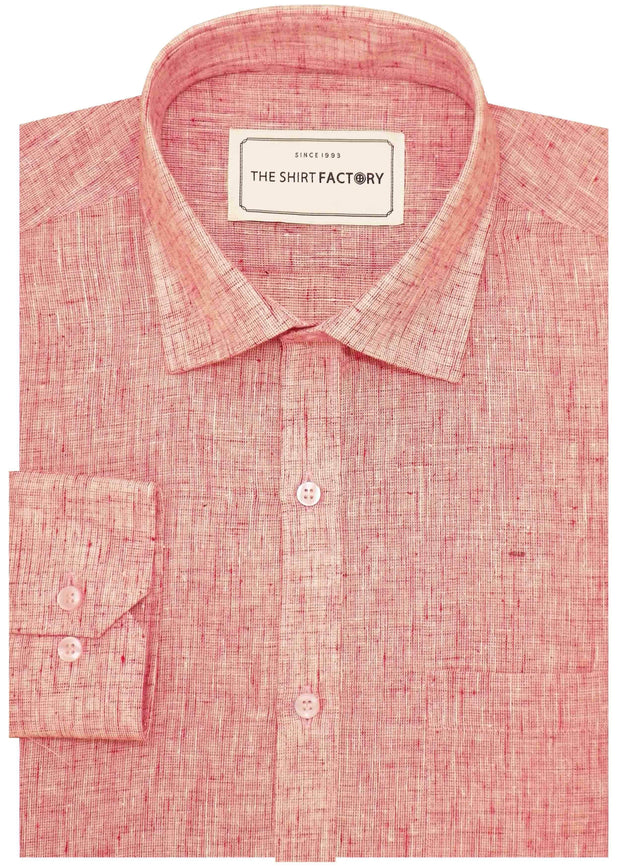 Men's Cotton Blend Plain Shirt - Light Red (0697) - Theshirtfactory