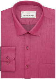 Men's Cotton Blend Plain Shirt - Magenta (0758) - Theshirtfactory
