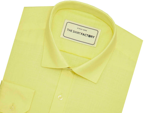 Men's Cotton Blend Plain Shirt - Yellow (0742) - Theshirtfactory
