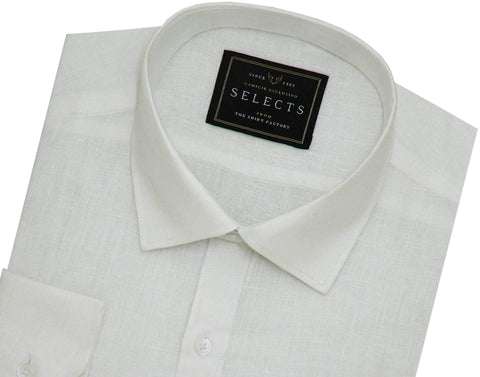 Selects Pure Linen Plain Shirt - White (0484) - Theshirtfactory