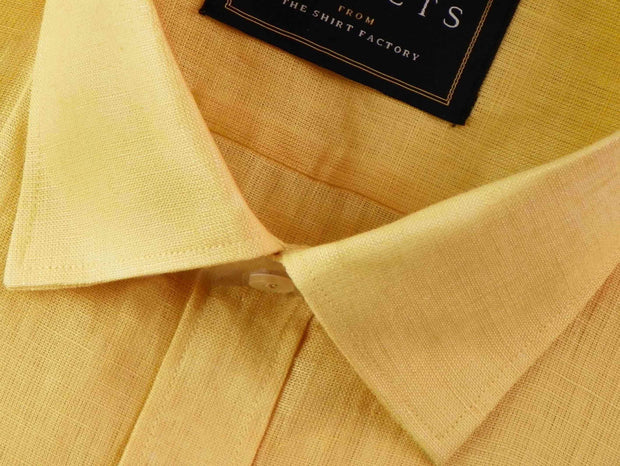 Selects Pure Linen Plain Shirt - Yellow (0485) - Theshirtfactory