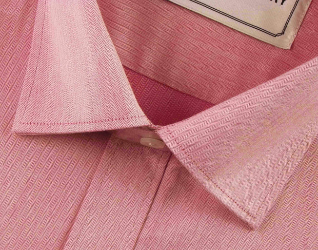 Men's Cotton Blend Herringbone Light Pink Shirt - (0392) - Theshirtfactory