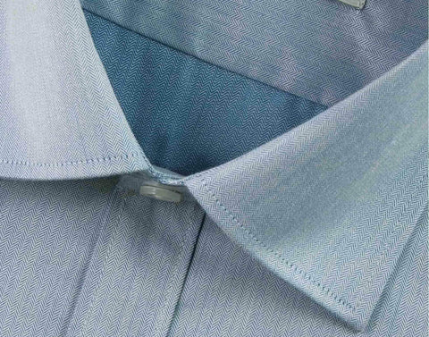 Men's Cotton Blend Herringbone Sky Blue Shirt - (0390) - Theshirtfactory
