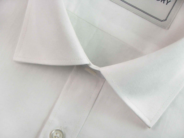 Men's Formal Premium Cotton Blend Plain Shirt - White (0469) - Theshirtfactory