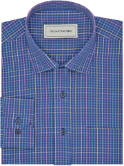 Men's Premium Cotton Check Shirt - Navy Blue Checks (1138) - Theshirtfactory