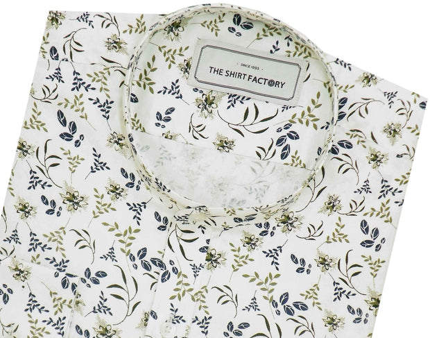 Men's 100% Cotton Printed Shirt with Mandarin Collar - White (0418-MAN) - Theshirtfactory
