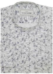 Men's 100% Cotton Printed Shirt with Mandarin Chinese Collar - White (0420-MAN) - Theshirtfactory