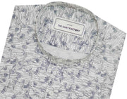 Men's 100% Cotton Printed Shirt with Mandarin Chinese Collar - White (0420-MAN)