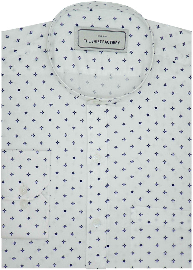 Men's 100% Cotton Printed Shirt with Mandarin Collar - White (0827-MAN) - Theshirtfactory