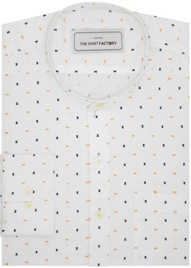 Men's 100% Cotton Printed Shirt with Mandarin Collar - White (0835-MAN) - Theshirtfactory