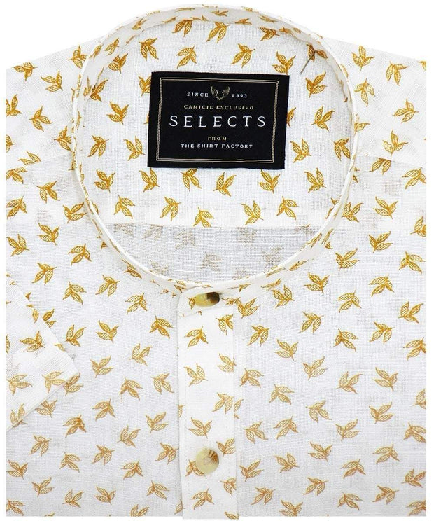 Selects Cotton Printed Shirt Linen Finish with Mandarin Collar - White (0564-MAN) - Theshirtfactory