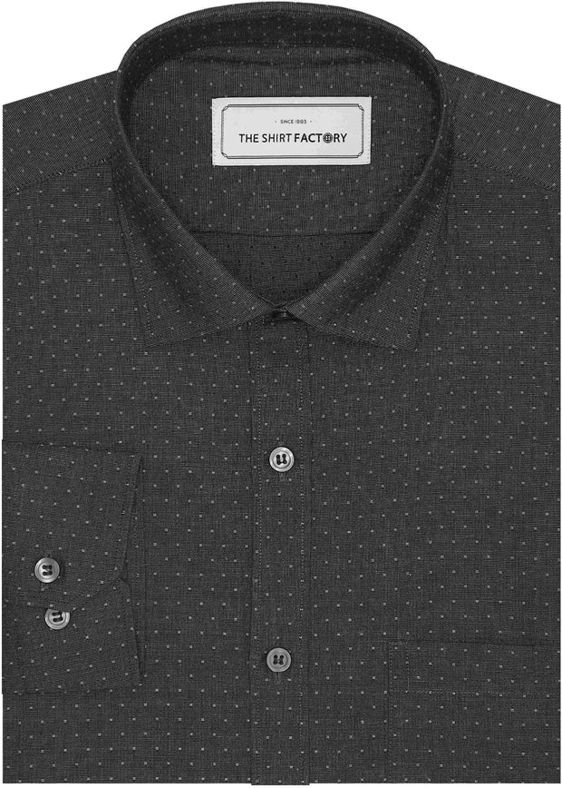 Men's 100% Cotton Dobby Shirt (Best for Suits) - Deep Grey (0602) - TheshirtfactoryPrinted Casual