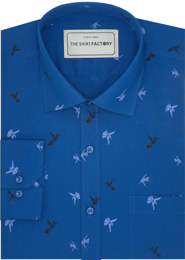 Men's 100% Cotton Printed Shirt - Blue (0498) - Theshirtfactory