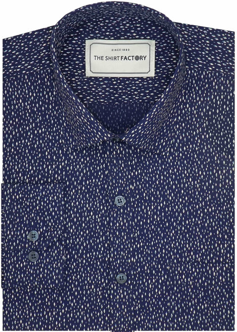 Men's 100% Cotton Printed Shirt - Blue (0513) - Theshirtfactory