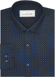 Men's 100% Cotton Printed Shirt - Blue Dot Print (0890) - Theshirtfactory