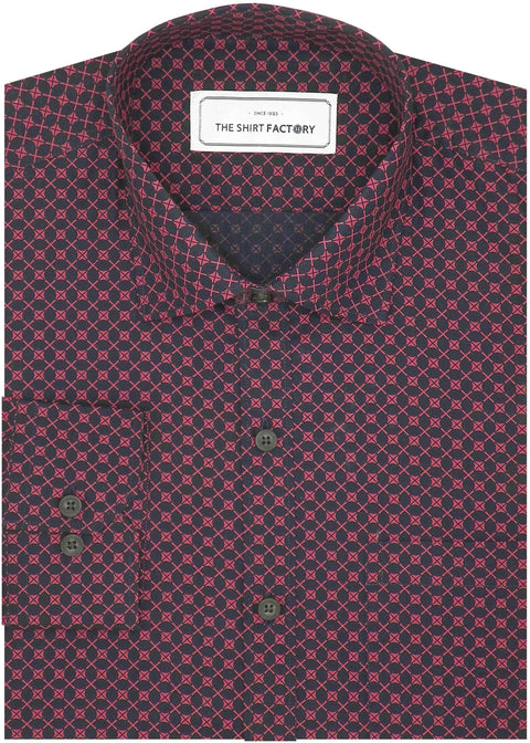 Men's 100% Cotton Printed Full Half Sleeves Shirt - Crimson Maroon (0891) - Theshirtfactory