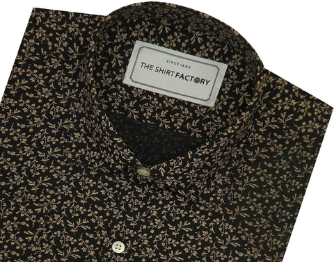 Men's 100% Cotton Printed Shirt - Golden Floral Print (0889) - Theshirtfactory