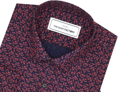 Men's 100% Cotton Printed Shirt - Pink Floral Print (0888) - Theshirtfactory