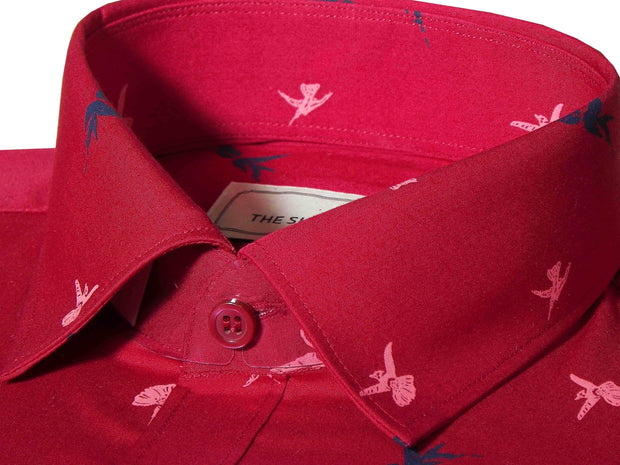 Men's 100% Cotton Printed Shirt - Red (0499) - Theshirtfactory