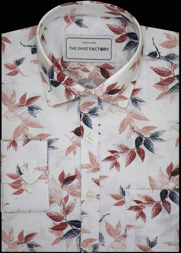 Men's 100% Cotton Printed Shirt - White (0357) - Theshirtfactory