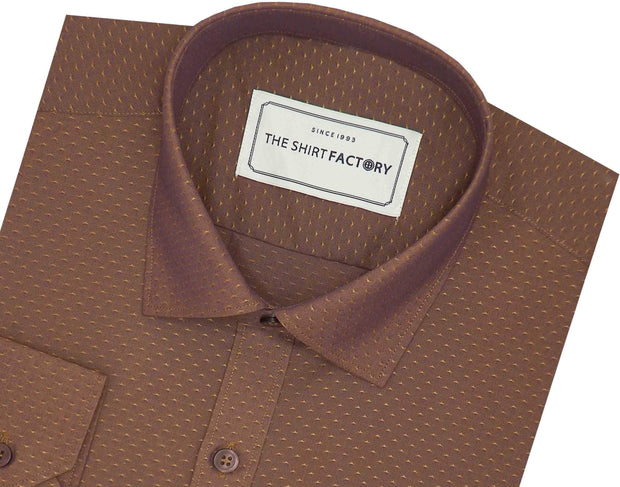 Men's Poly Cotton Dobby Shirt - Brown (0812) - Theshirtfactory