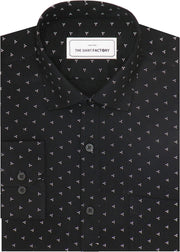 Men's Cotton Dobby Printed Shirt Black (0951) - TheshirtfactoryPrinted Casual