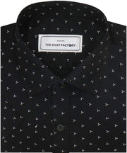Men's Cotton Dobby Printed Shirt Black (0951) - Theshirtfactory