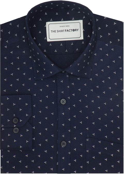 Men's Cotton Dobby Printed Shirt for Men Navy (0950) - Theshirtfactory
