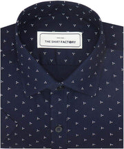 Men's Cotton Dobby Printed Shirt Navy (0950) - Theshirtfactory