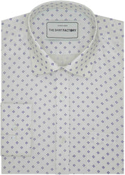 Men's Cotton Dobby Printed Shirt - White (0240) - Theshirtfactory