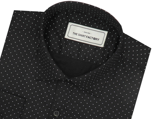 Men's Cotton Printed Shirt - Black (0911) - Theshirtfactory