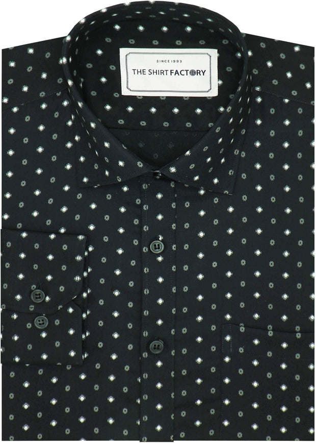 Men's Cotton Printed Shirt - Dark Green (0622) - Theshirtfactory