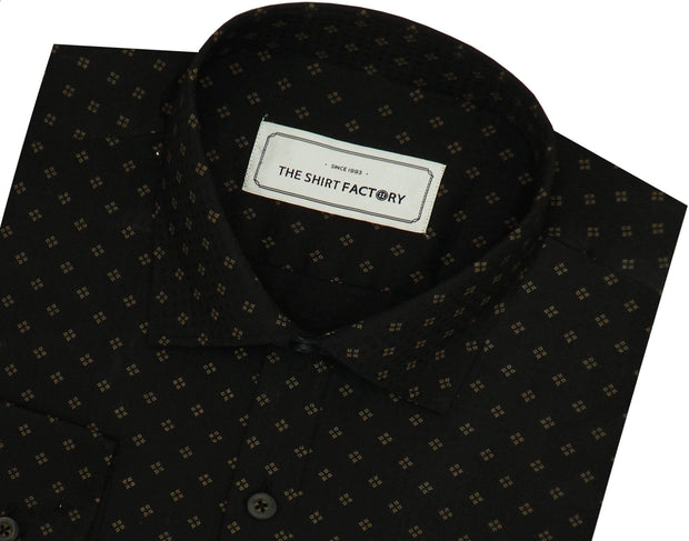 Men's Cotton Printed Shirt Black (0243) - Theshirtfactory
