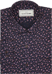 Men's Cotton Printed Shirt for Men Black (0615) - Theshirtfactory