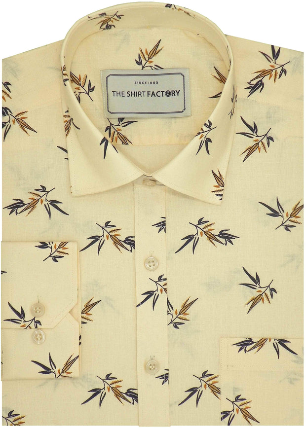 Men's Cotton Printed Shirt for Men Cream (0981) - Theshirtfactory